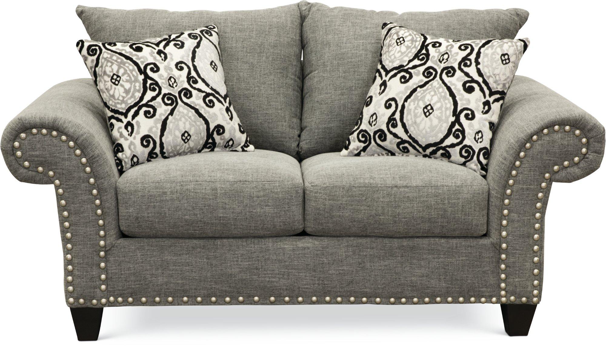 892 The Paradigm Living Room Set Grey: Casual Traditional Gray 2 Piece Living Room Set