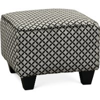 Contemporary Onyx Black & Gray Accent Ottoman - Paradigm