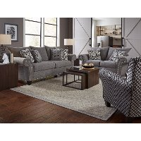 Casual Traditional Gray 2 Piece Living Room Set - Paradigm