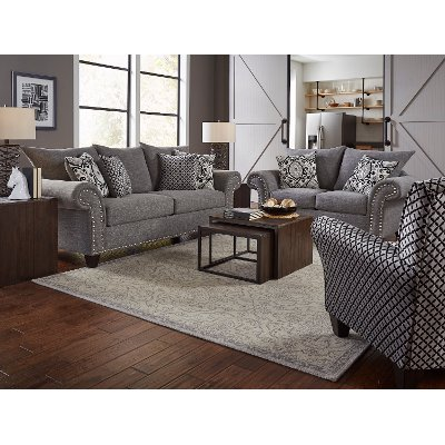 Casual Traditional Gray 2 Piece Living Room Set   Paradigm
