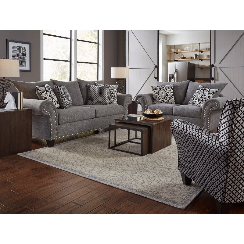 grey living room furniture set casual traditional gray 2 living room set paradigm 18390