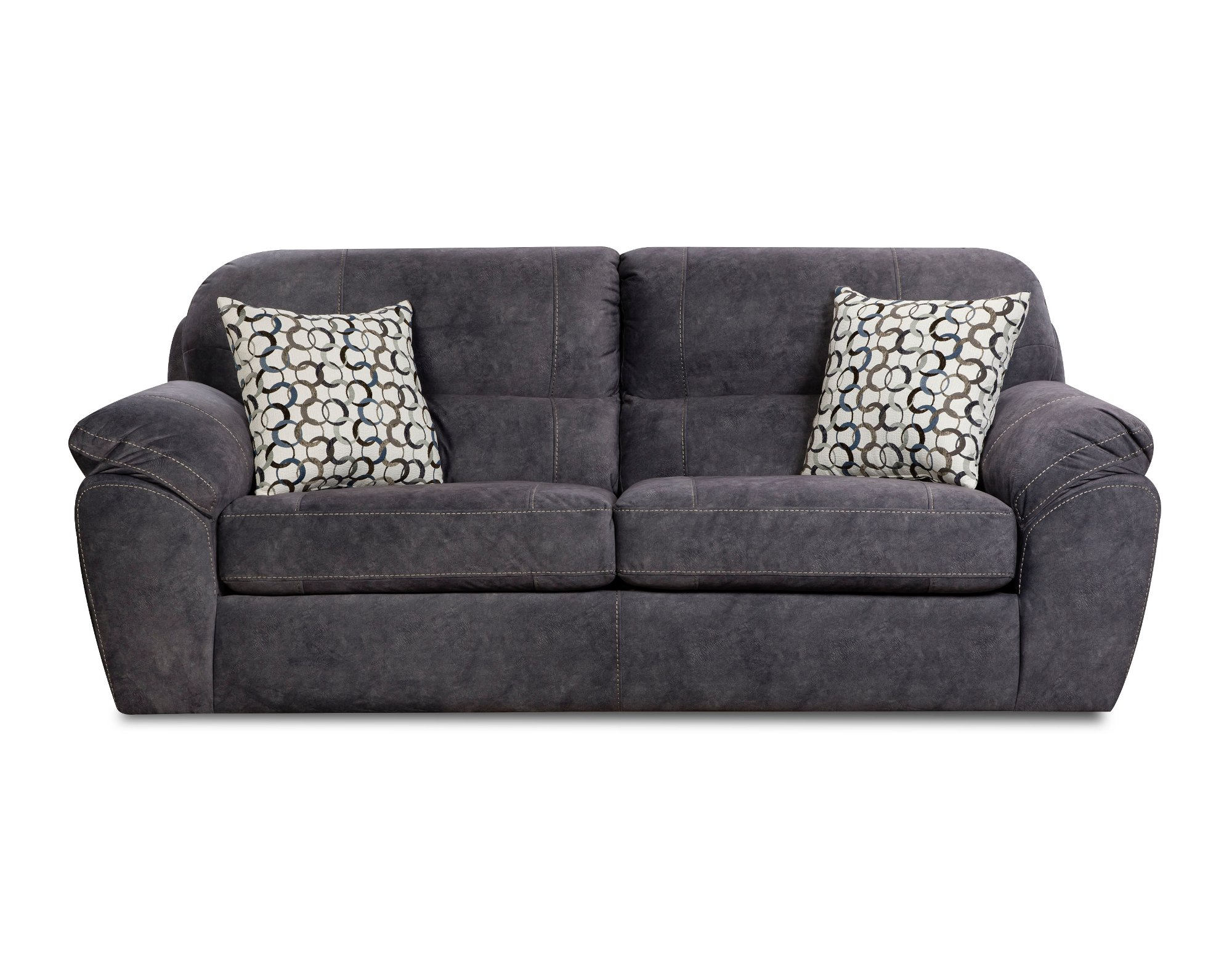 Casual Contemporary Steel Blue Sofa Amp Loveseat Set