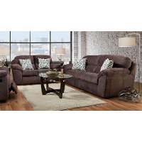 Casual Contemporary Cocoa Brown Sofa and Loveseat Set - Imprint