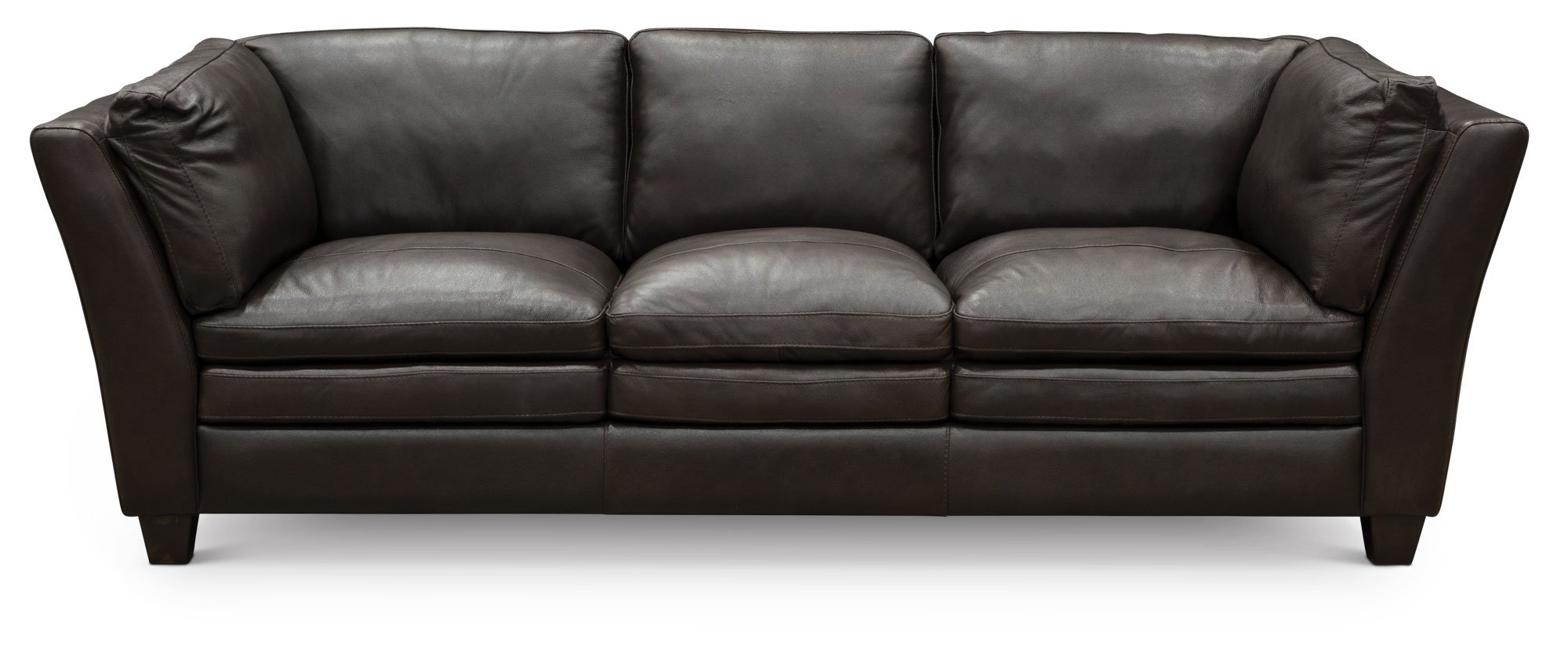 Contemporary Dark Brown Leather 3 Piece Sectional Capri Rc Willey Furniture Store