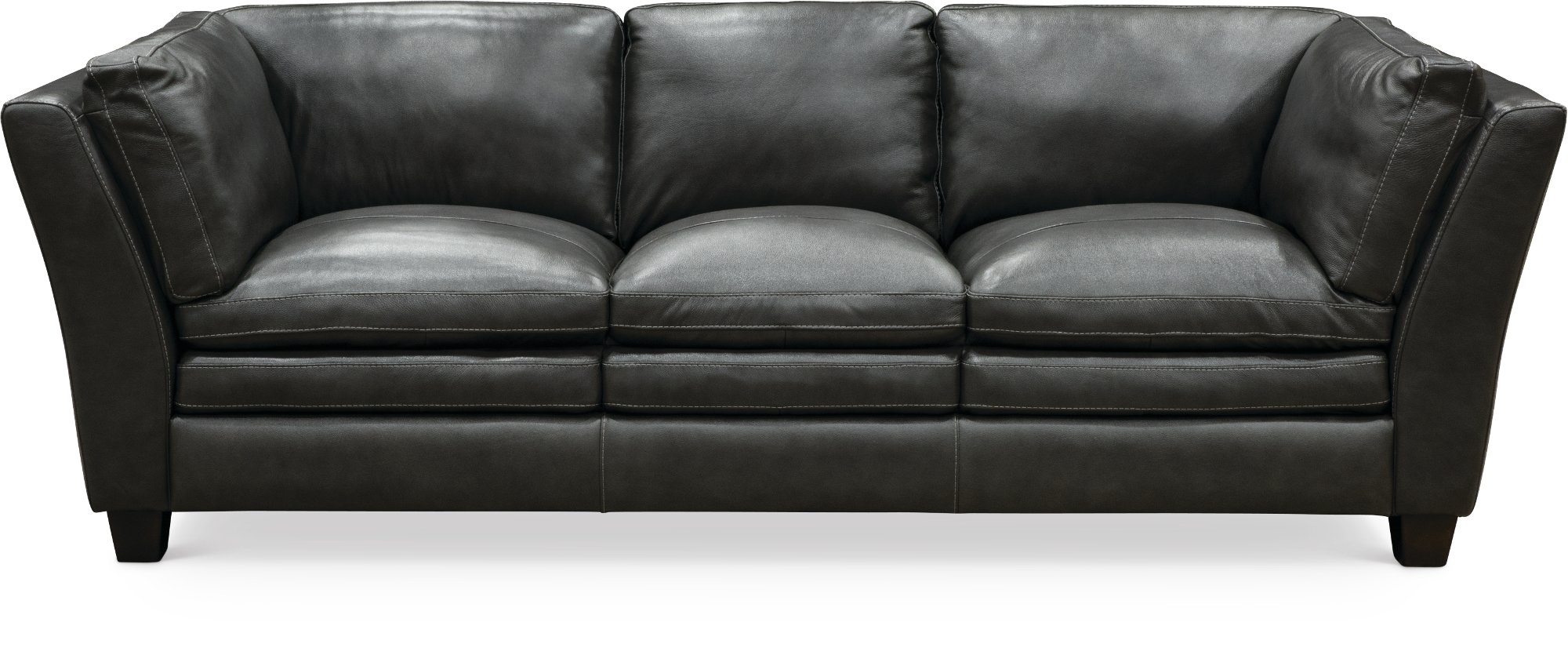 Contemporary slate gray leather 3 piece sectional capri for Slate grey sectional sofa