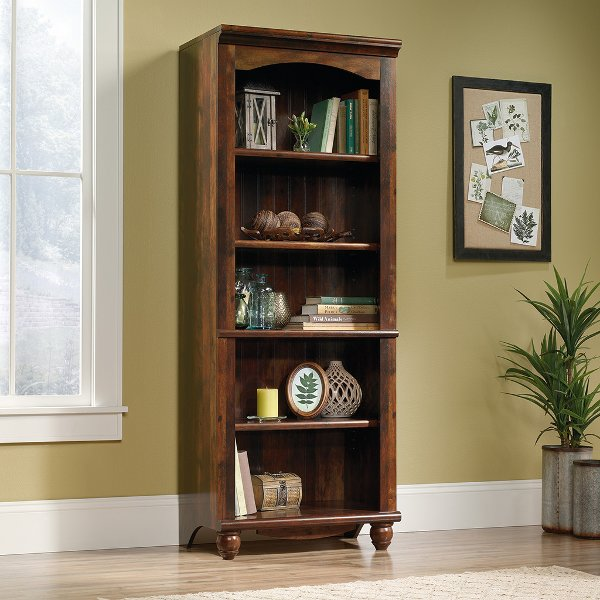 ... 72 Inch Cherry Brown Bookcase   Harbor View