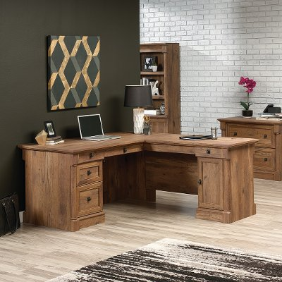 L Shaped Oak Corner Desk Vine Crest