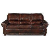 Classic Traditional Brown Leather Sofa - Amaretto