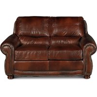 Classic Traditional Brown Leather Loveseat - Amaretto