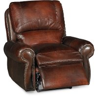 Classic Traditional Brown Leather Power Recliner - Amaretto