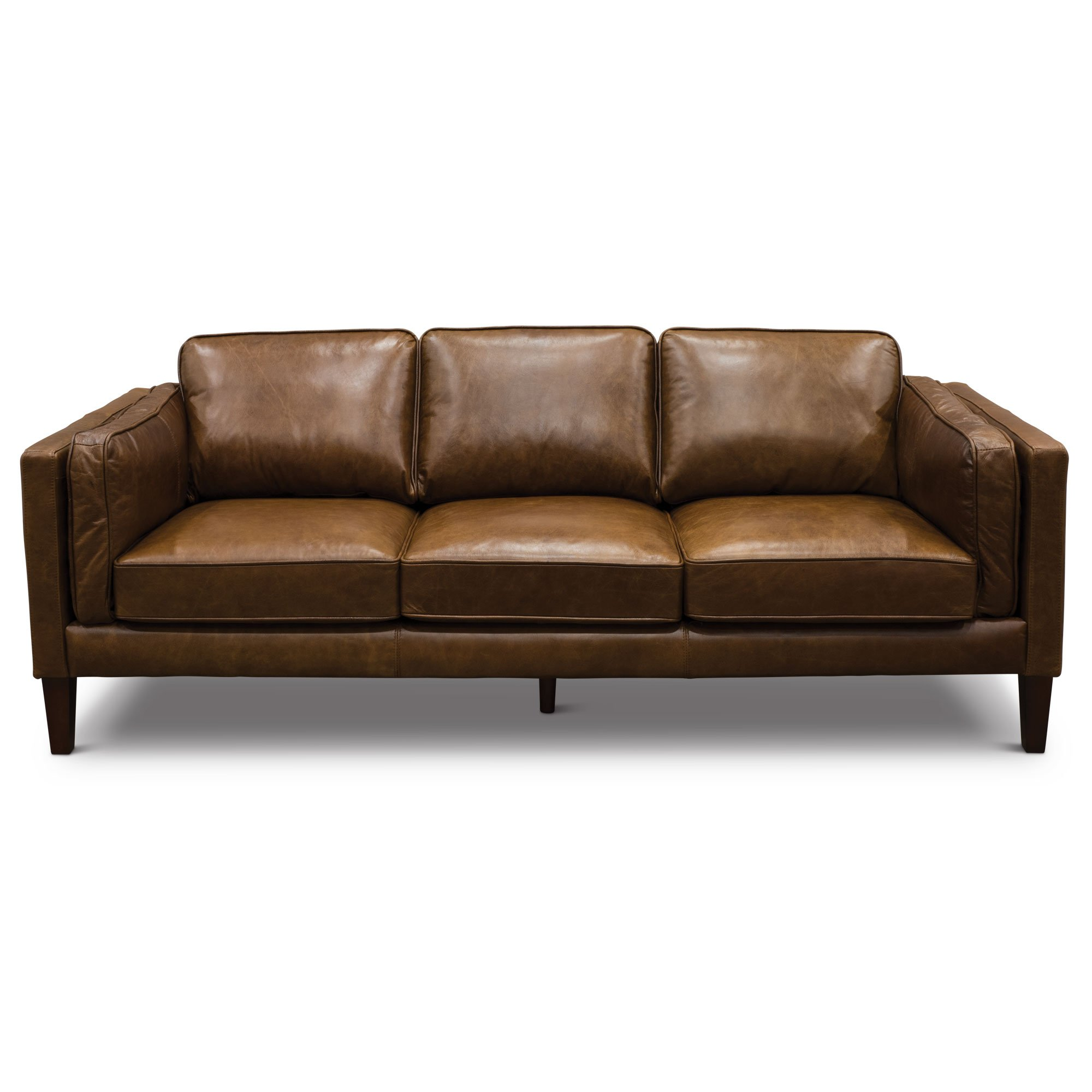 Modern Classic Cocoa Brown Leather Sofa Brompton