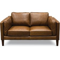 Modern Classic Cocoa Brown Leather Loveseat - Brompton
