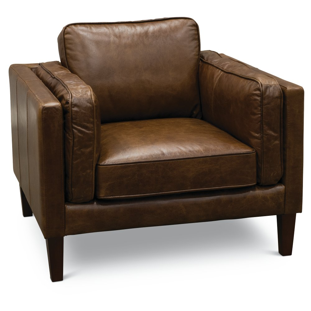 Modern Classic Cocoa Brown Leather Chair   Brompton   RC Willey Furniture  Store
