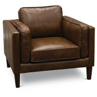 Modern Classic Cocoa Brown Leather Chair - Brompton