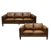 Brown Leather 2 Piece Living Room Set- Brompton