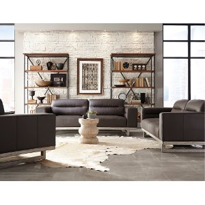 Modern Brown Leather Sofa U0026 Loveseat Set ...