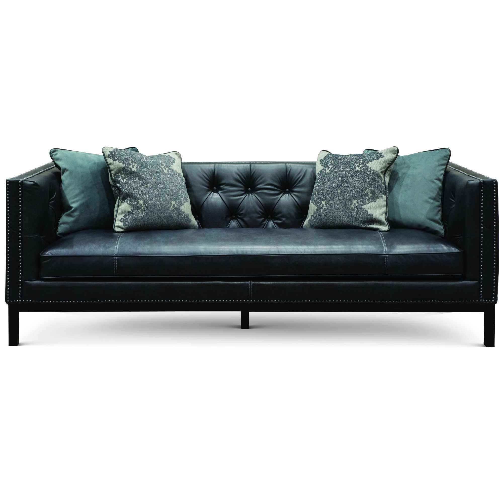 Mid Century Modern Slate Black Leather Sofa   St. James | RC Willey  Furniture Store