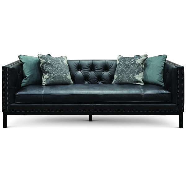 Black leather couch Gray Midcentury Modern Slate Black Leather Sofa St James Rc Willey Buy Leather Sofa For Your Living Room Or Den At Rc Willey