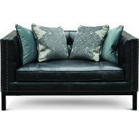 Mid-Century Modern Slate Black Leather Loveseat - St. James