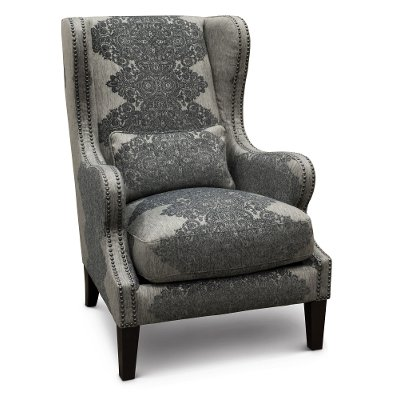 Classic Gray Wingback Chair   St. James