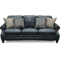 Classic Traditional Navy Blue Leather Sofa - Admiral
