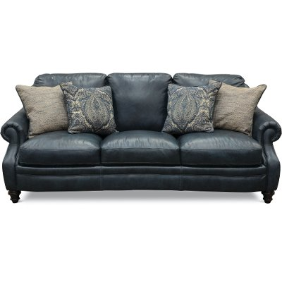 Classic Modern Sky Blue Leather Sofa - Luxe | RC Willey Furniture Store