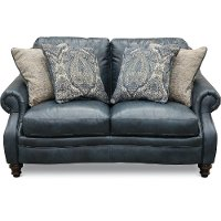 Classic Traditional Navy Blue Leather Loveseat - Admiral