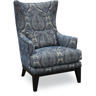 Classic Sapphire Blue Wing Chair   Admiral