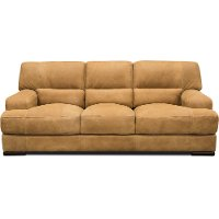 Casual Contemporary Palomino Brown Leather Sofa - Stallone