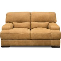 Casual Contemporary Palomino Brown Leather Loveseat - Stallone