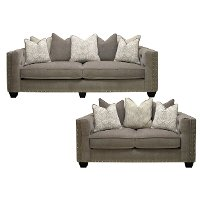 Traditional Gray 2 Piece Living Room Set - Caprice