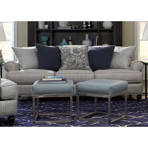 ... Clearance Classic Blue Silver Striped Sofa   Quincy