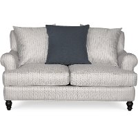 Classic Blue-Silver Striped Loveseat - Quincy
