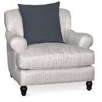 Classic Blue-Silver Striped Chair - Quincy