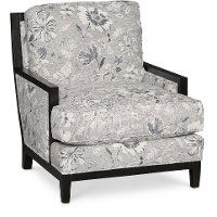 Classic Denim Floral Accent Chair - Quincy