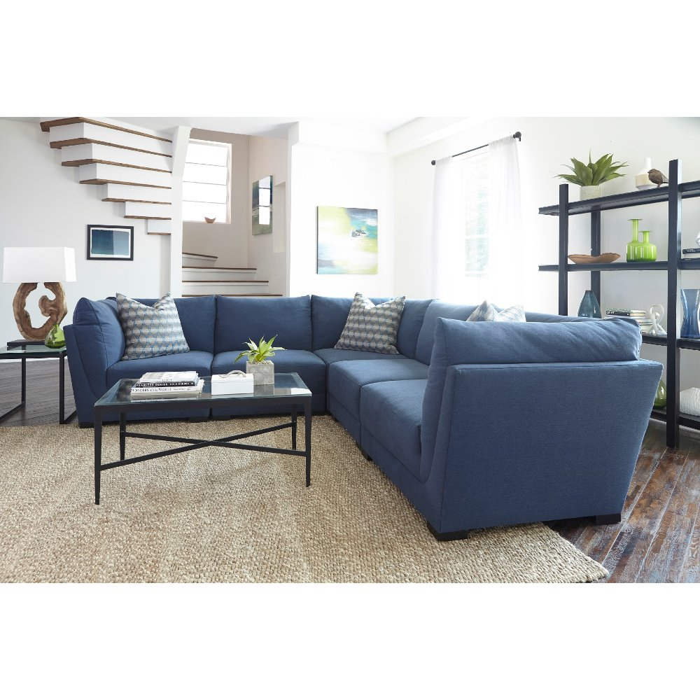 Casual Contemporary Indigo Blue 5 Piece Sectional   McEwan   RC Willey  Furniture Store