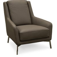 PUELLA-100/VISONE/CH Modern Gray Leather Accent Chair - Tesla