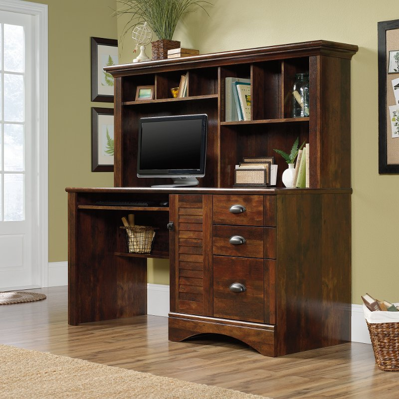 Cherry Brown Computer Desk with Hutch