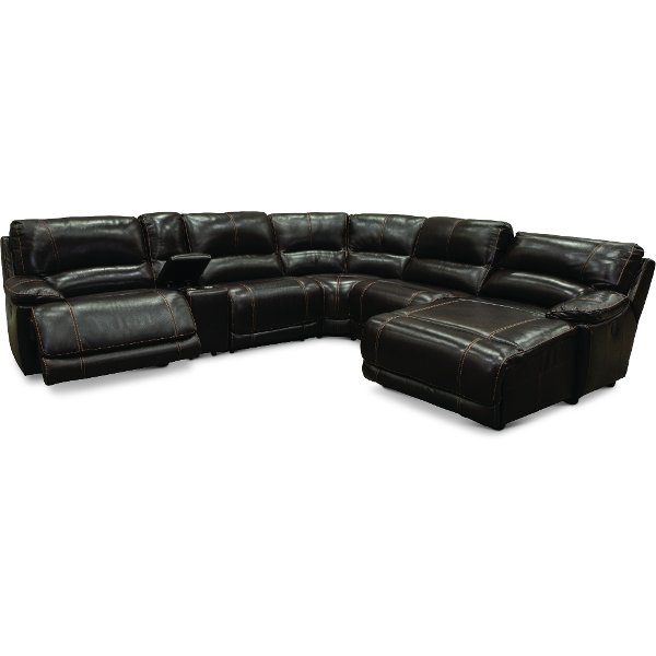 ... Dark Brown Leather Match Power Reclining Sectional Sofa   Brant