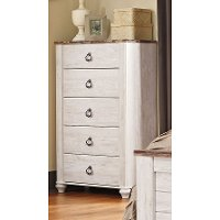 Classic Rustic Whitewashed Chest of Drawers - Millhaven