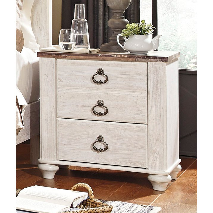 Clic Rustic Whitewash Nightstand Millhaven Rc Willey Furniture