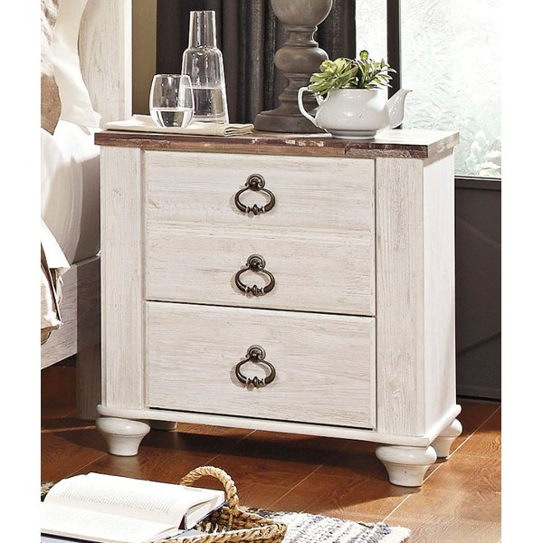 Antique Nightstand29999 Classic Rustic Whitewashed Nightstand