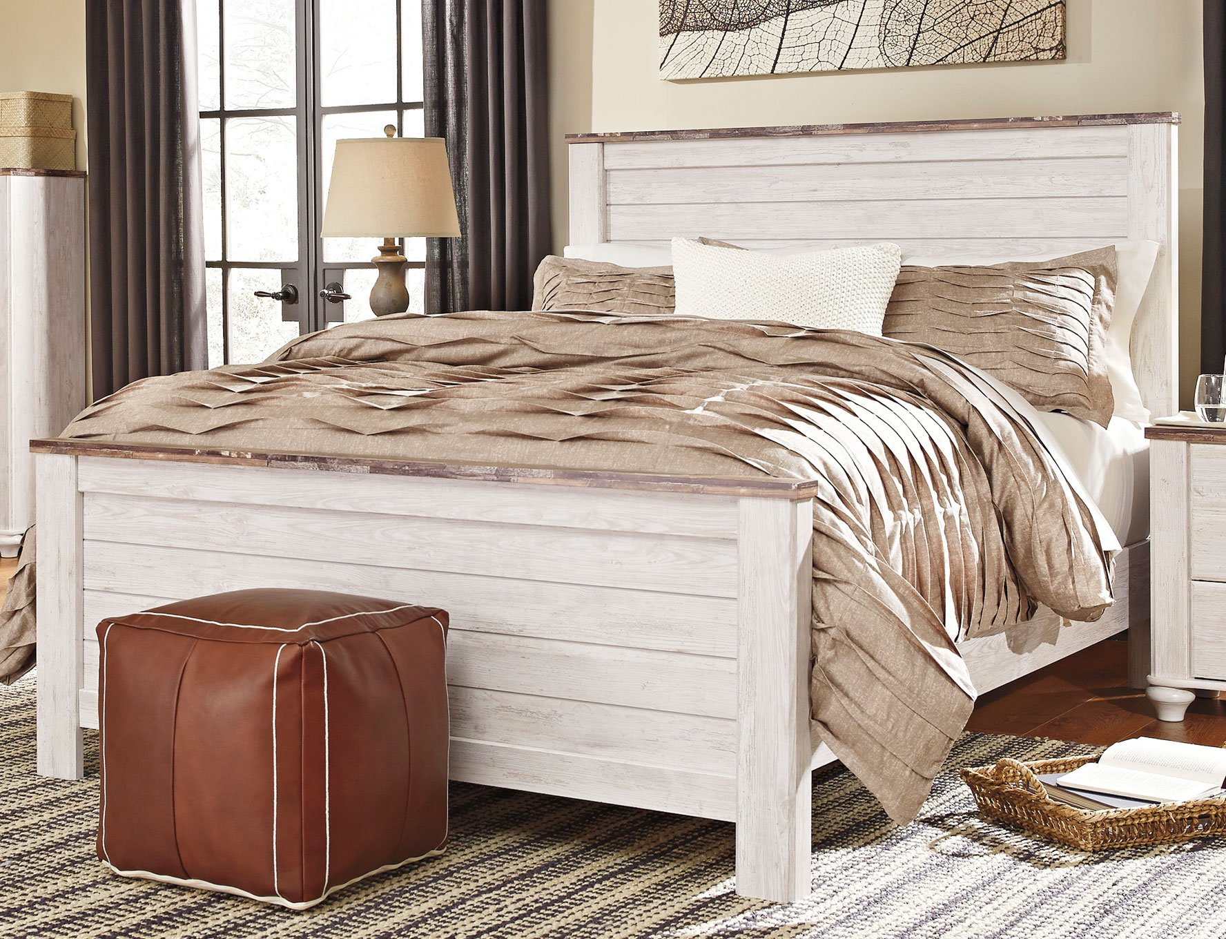 Classic Rustic Whitewashed Queen Bed Millhaven Rc Willey