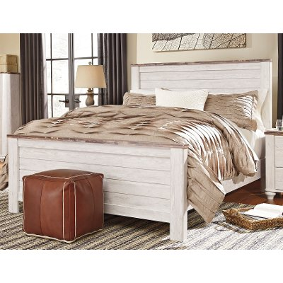 Whitewashed Classic Rustic Queen Bed Millhaven RC Willey