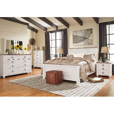 rustic queen bedroom sets. Classic Rustic Whitewashed 6 Piece Queen Bedroom Set  Millhaven