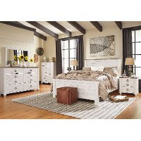 Classic Rustic Whitewash 4 Piece King Bedroom Set - Millhaven