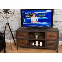Rustic Brown Wooden 55 Inch TV Stand - Brixton