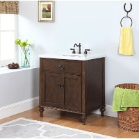 Antique Oak Finish Vanity With Gray And White Stone Marble