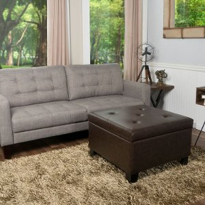 ... Patton Chocolate Brown Storage Ottoman   Berkley ...