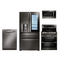 KIT LG 4 Piece Kitchen Appliance Package with Electric Range and InstaView Refrigerator - Black Stainless Steel